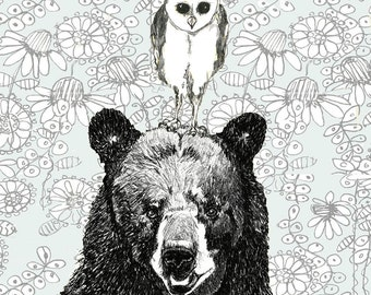 Owl Art-Bear Art-Owl and Bear Illustration - Just The Two Of Us
