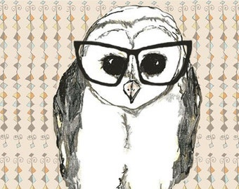 Owl Art  - Black Glasses - Owl Decor