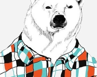 Polar Bear Print - Polar Bears Love Flannel Shirts - Bear Art - Retro Colors