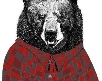 Bear Art Print - Bears Love Flannel Shirts