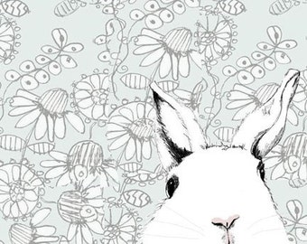 Bunny Rabbit Print - White Rabbit Drawing  - Where's Alice  Wallpaper Background