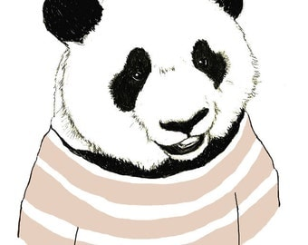Children's Art - Panda Bears Love Stripes - Bear Art
