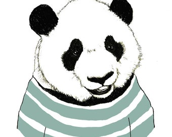 Panda Bear Art - Nursery Art - Panda Bears Love Stripes - Children Decor