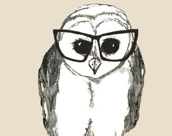 Owl Illustration - Book Lover Owl - Black Glasses Print