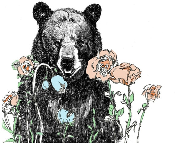 A Bear in Our Garden - Bear Art Print