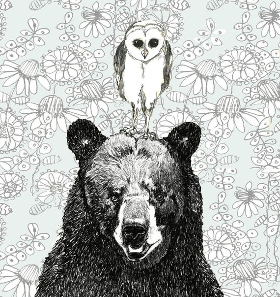 Owl and Bear Illustration - Just The Two Of Us