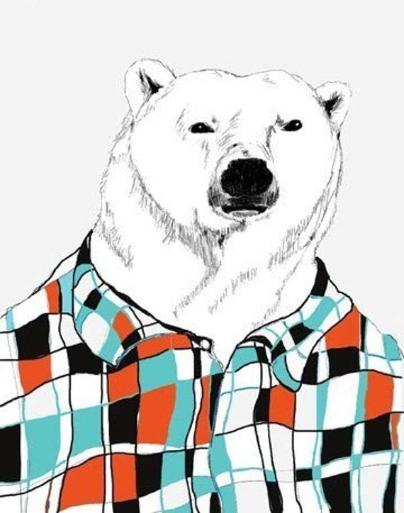 Polar Bear Print - Polar Bears Love Flannel Shirts - Bear Art - Retro Colors