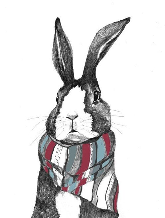 Rabbit Art - Rabbits Love Scarves