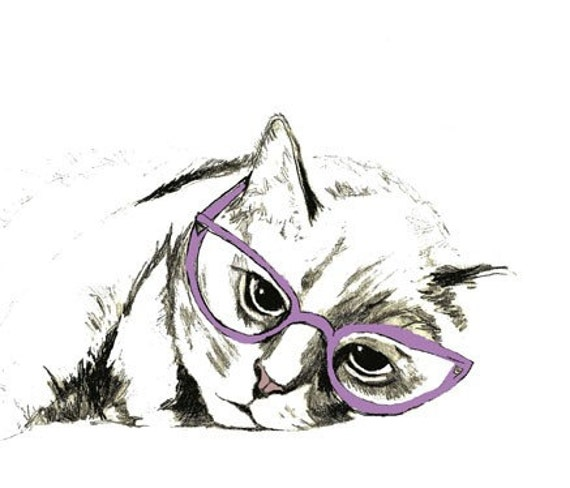 Sleepy Cat With Glasses - Cat Art Print