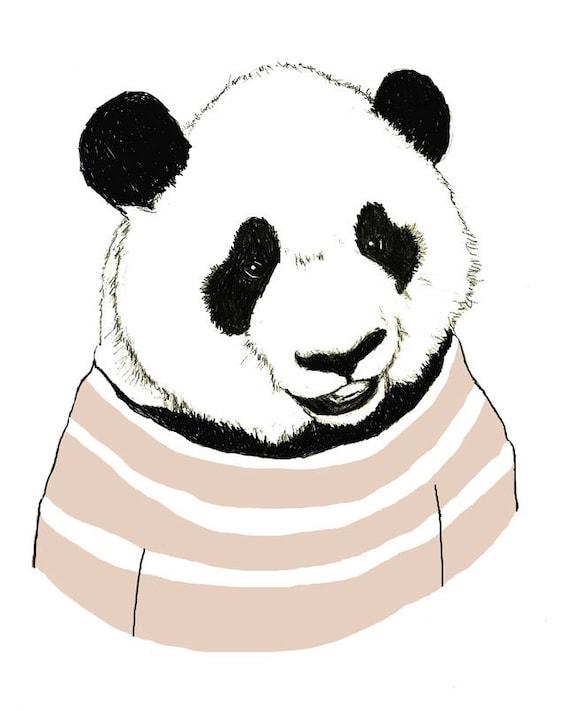 Children's Art - Panda Bears Love Stripes - Bear Art