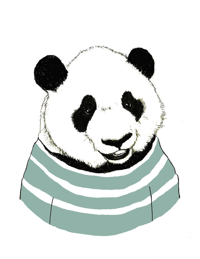 Panda bear art nursery art panda bears love stripes for Panda bear decor