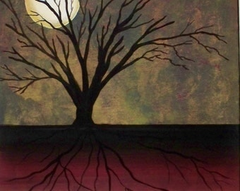 20x16 SURREALISM large acrylic MIDNIGHT. Original on gallery wrapped canvas.moon trees red yellow night sky