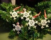 Set of 5 Mini Snowflakes (Ivory)
