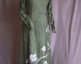Middle Earth, Lord of the Rings, Green Embroidered Leaf Dress with Silver stitching and Sequins
