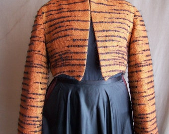 Hand-Woven Tiger Patterned Jacket, one of a kind