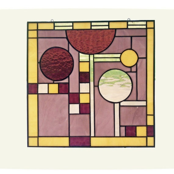 Frank Lloyd Wright Inspired Stained Glass Window
