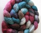 "Swirl BFL Wool Roving (Top) - Handpainted Spinning or Felting Fiber, ""Neptune"" - 4.1"