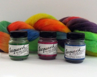 Acid Dyes, Jacquard (Kit of Three .5oz jars for protein fibers and most nylons - just use vinegar and heat)