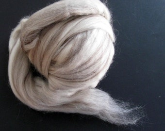 Ecru/Undyed/Natural Swirl BFL wool roving (combed top), spinning fiber - 4 ounces
