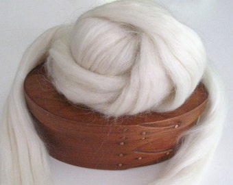 Ecru/Undyed/Natural Mohair, Wool, and Nylon Blend wool roving, spinning fiber - 4.0 ounces