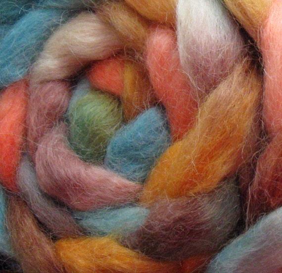 Wensleydale Wool Roving (Top) - Handpainted Spinning or Felting Fiber, Saturn - 4 ounces