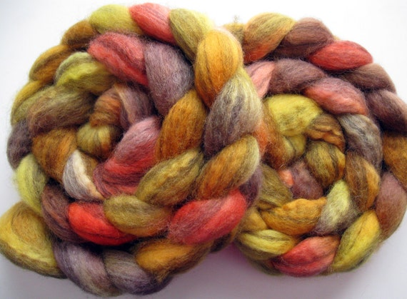 "Swirl BFL Wool Roving (Top) - Handpainted Spinning or Felting Fiber, ""Tarzan"" - 4 ounces"