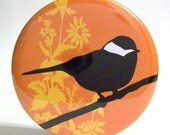 Pocket Mirror - Party Favor or Bridesmaid Gift - Cleo Bird Orange Mirror With Pouch - Buy 3 Get The 4th FREE