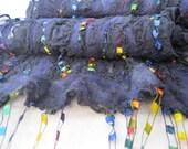 Rainbow ribbon scarf nuno felted on silk --- Prismatic