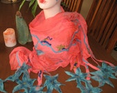 Coral Clematis nuno felted scarf