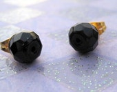 STONED Faceted Black Stone Stud Earrings (30% donated)