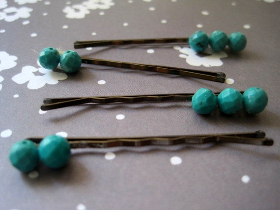 STONED Faceted Turquoise Bobby Pin Set of FOUR (50% donated)