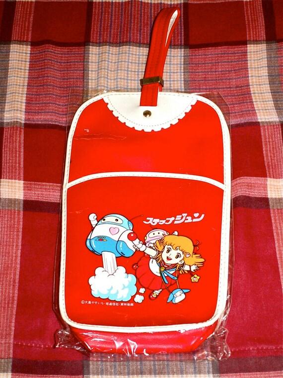 Vintage Japan 80s Hai Step Jun Anime Girl Yasuichi Oshima Shoe Bag in Red Mint