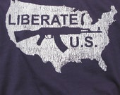 Liberate U.S. Screenprint on Navy Blue T-Shirt Extra-Large