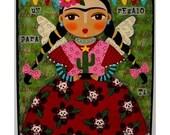FRIDA KAHLO CACTUS FIESTA 8x10 PRINT of folk art collage painting by LuLu