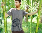 Monkey Tri-blend Tshirt - eco friendly black ink screenprint on slim fit coffee track shirt - Adult Unisex Mens sizes XS, S, M, L, XL
