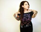 Lynx Cat tshirt dress -  multicolor eco-friendly ink screenprint on black cotton - womens sizes S, M, L
