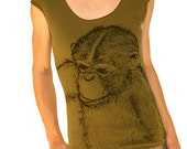 Monkey tshirt - eco-friendly black ink screenprint on olive green cotton scoop neck - size Large (last one in stock)
