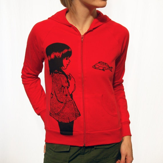 Underwater Kate Hoodie - eco friendly black ink screenprint on red cotton fleece -  womens fitted size Medium - last one in stock