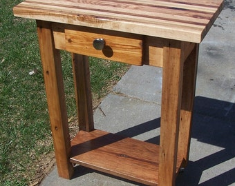 Butcher Block Kitchen Island from Reclaimed Hardwood