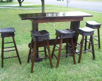 Reclaimed Antique Oak Custom Bar and Bar Stools & Custom bar stools | Etsy islam-shia.org