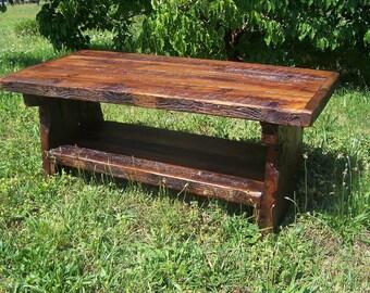 Heart pine rustic coffee table