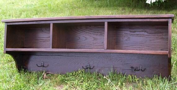 Reclaimed Oak Coat Rack Cubby Shelf for Entryway