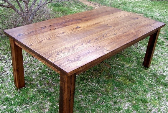 wormy chestnut thick plank farm table bunkhouse style