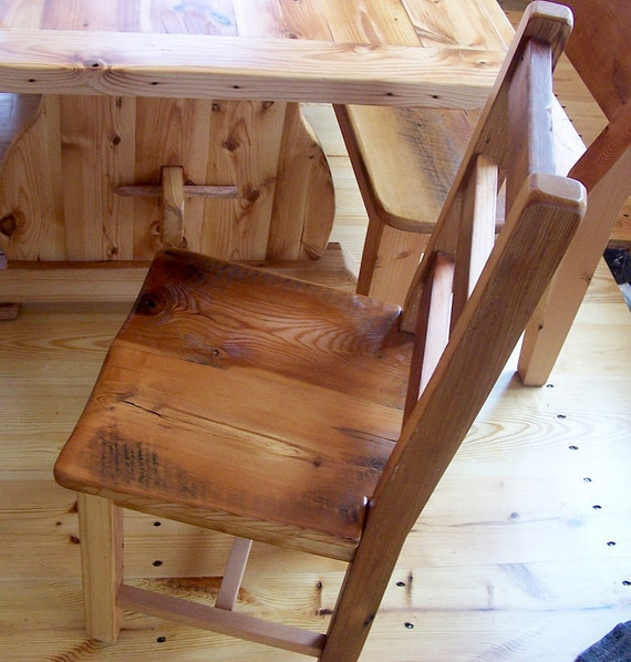 Reclaimed Antique Heart Pine Rustic Dining Chairs