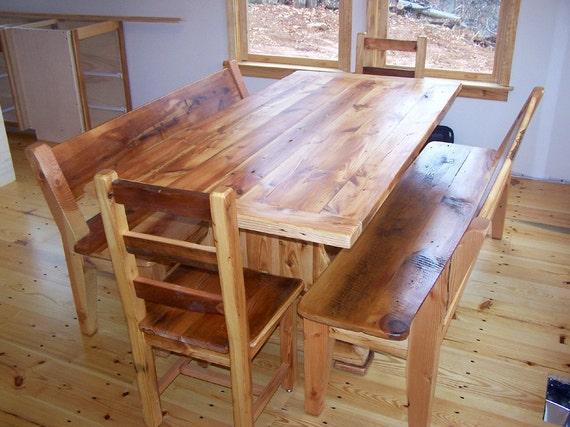 Reclaimed Heart Pine Trestle Table