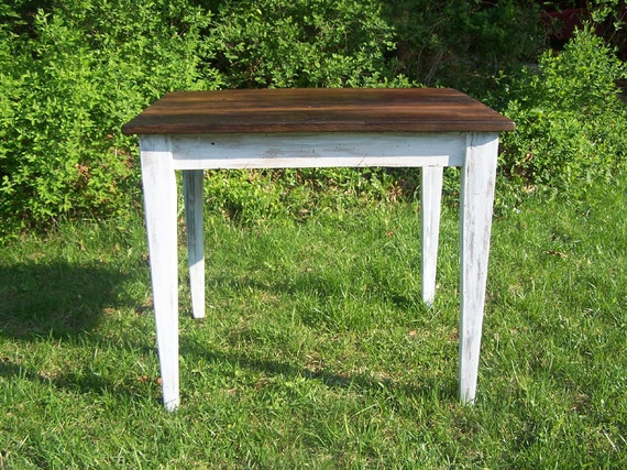 Reclaimed wormy chestnut kitchen table with painted skirt