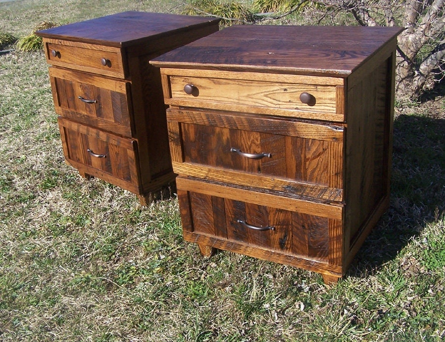 rustic oak nightstand with 3 drawers