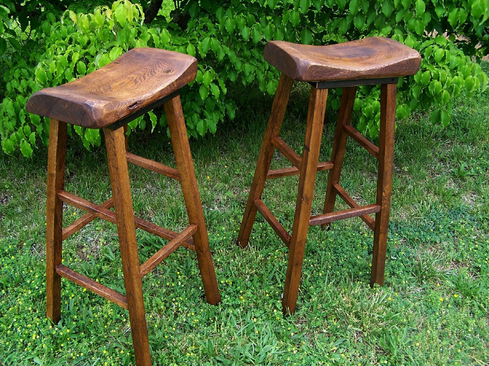 Reclaimed Oak Live Edge Bar Stools