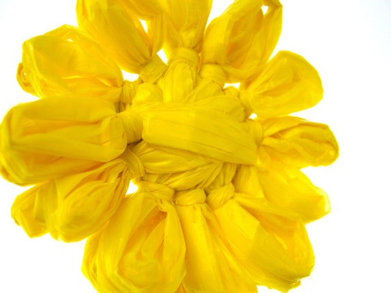 Recycled Plastic Bag Flower Barrette Yellow