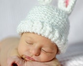 Bunny hat with pink, blue or cream ears